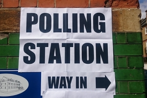 Polling station sign (London)