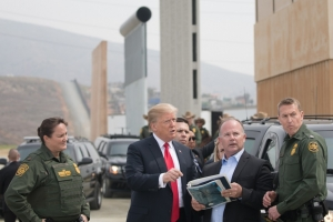 President Donald Trump reviewing U.S. Customs and Border Protection's wall prototypes 13 March 2018