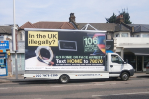 Infamous Home Office Go home or face arrest van