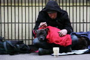 Homeless man in London