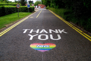 Thank You NHS, painted on road outside hospital, North Walsham, Norfolk, England 19 May 2020