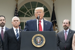 President Donald J. Trump, joined by Vice President Mike Pence and members of the White House Coronavirus Task Force 13 March 2020