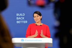 Controversial Home Secretary Priti Patel at Conservative Party Conference 4 October 2020
