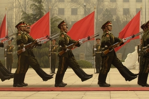 Chinese military honor guard march during a welcome ceremony for Chairman of the Joint Chiefs of Staff Marine Gen. Peter Pace, Beijing, China 22 March 2007