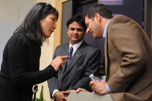 Boeing design manager discusses the UX Software Design Center of Excellence with Infosys team manager, and sales manager, Infosys Bellevue office, Washington, USA