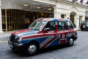 London Taxi with Union Jack, UK