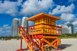 Colorful Lifeguard Stations Of Miami Beach, Florida, USA