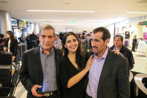 Mayor Garcetti welcomes Mr. Vayeghan. The first person subjected to the President's travel ban who was able to return to US following Court Order. 2 February 2017