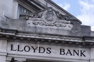 Lloyds Bank, 16 Gentlemans Walk, Norwich - Lloyds Bank sign and LB