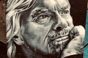 Richard Branson - painted portrait - founder Virgin Media
