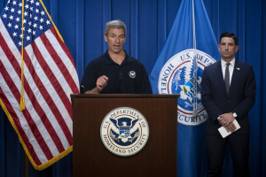 Press briefing with Ken Cuccinelli (center) and Chad Wolf head of DHS 30 May 2020