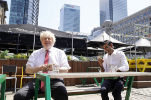 Prime Minister Boris Johnson and the Chancellor of the Exchequer Rishi Sunak visit Pizza Pilgrims in West India Quay 26 06 20