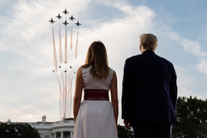 President Donald J. Trump and First Lady Melania Trump watch US Air Force perform a flyover during Salute to America event Saturday, July 4, 2020.