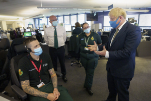 13/07/2020 Prime Minister Boris Johnson meets a member of the Helicopter Crew during a visit to London Ambulance Service.