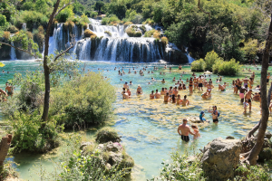 Skradinski Falls, Croatia on a summer day 20 August 2020
