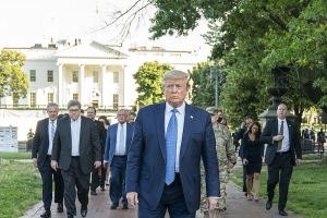 President Donald J. Trump walks from the White House Monday evening, June 1, 2020, to St. John's Episcopal Church