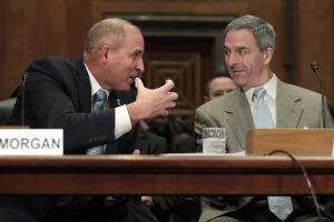 Mark A Morgan head of Customs and Border Protection with Ken Cuccinelli head of USCIS 13 November 2019