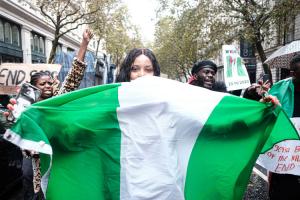 nigerian flat at rally