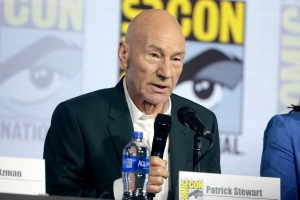 "Patrick Stewart speaking at the 2019 San Diego Comic Con International, for ""Star Trek: Picard"
