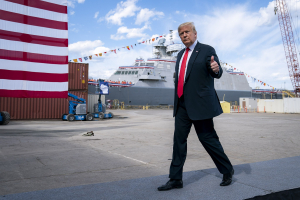 President Donald J. Trump delivers remarks to employees and guests Thursday, June 25, 2020, at Fincantieri Marinette Marine in Marinette, Wis.