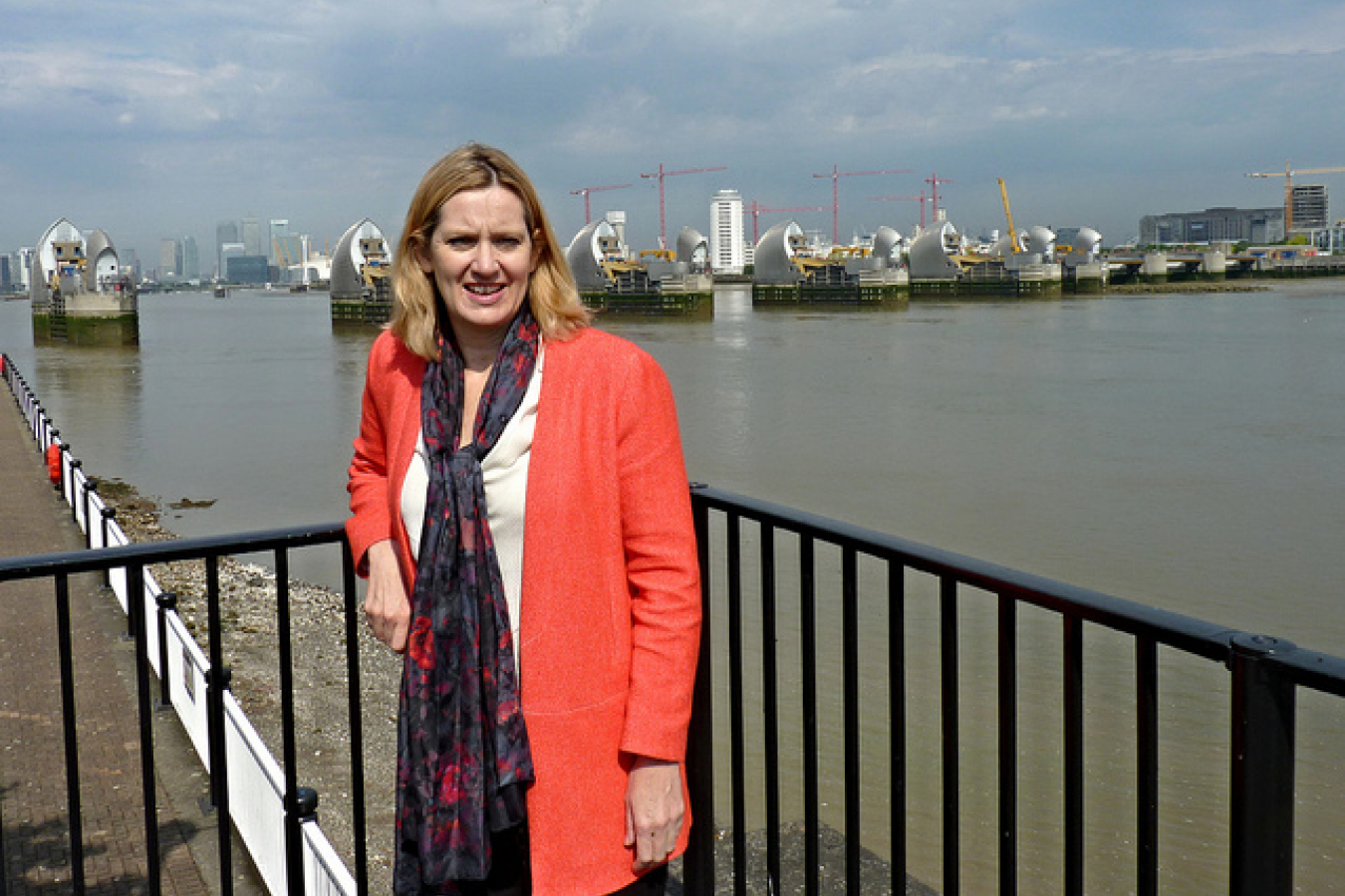 Amber Rudd in front of the Thames barrier
