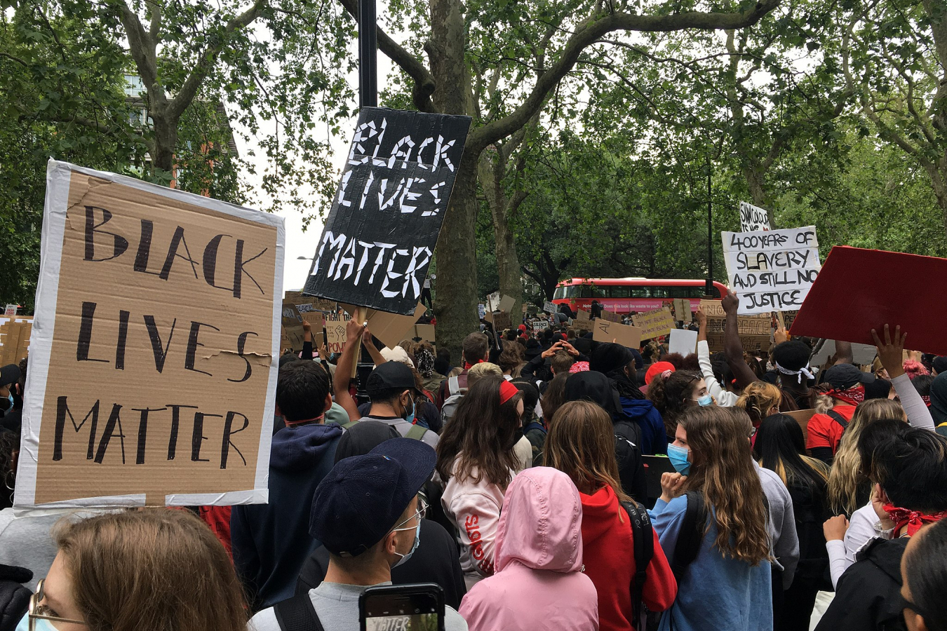 Black Lives Matter peaceful protest on 3 June 2020 from Hyde Park to Trafalgar Square.