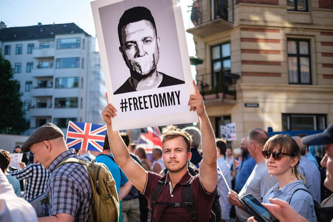 Tommy Robinson demonstration in Copenhagen, Denmark #freetommy