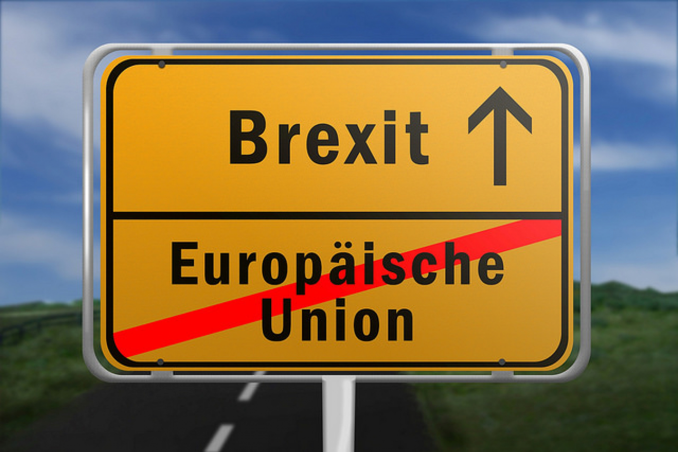 Ortsschild mit den Worten Europaeische Union und Brexit