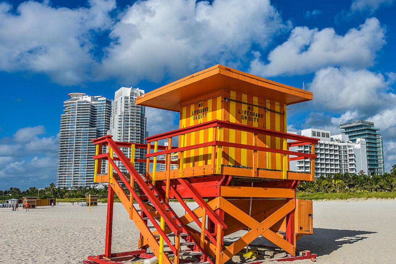 Colorful Lifeguard Stations Of Miami Beach, Florida, USA