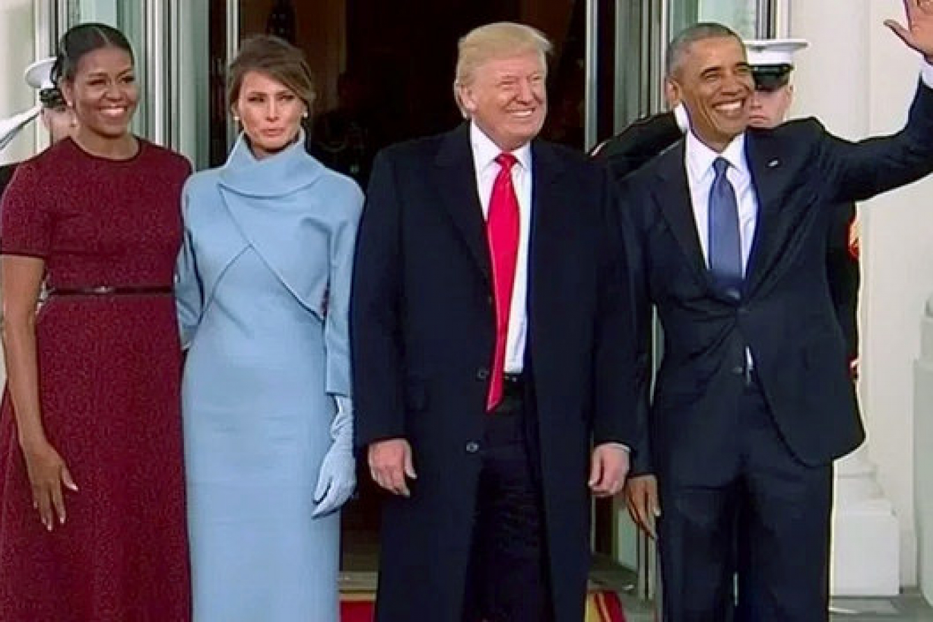 Donald Trump and Barack Obama with wives Melania Trump and Michelle Obama