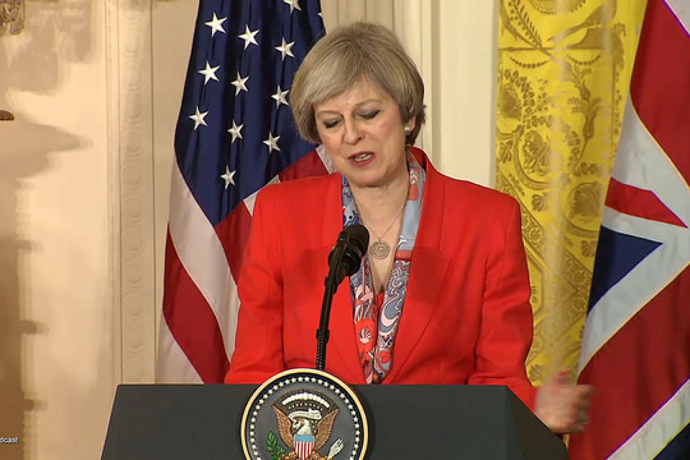 Theresa May with Donald Trump in Press Conference January 27 2017