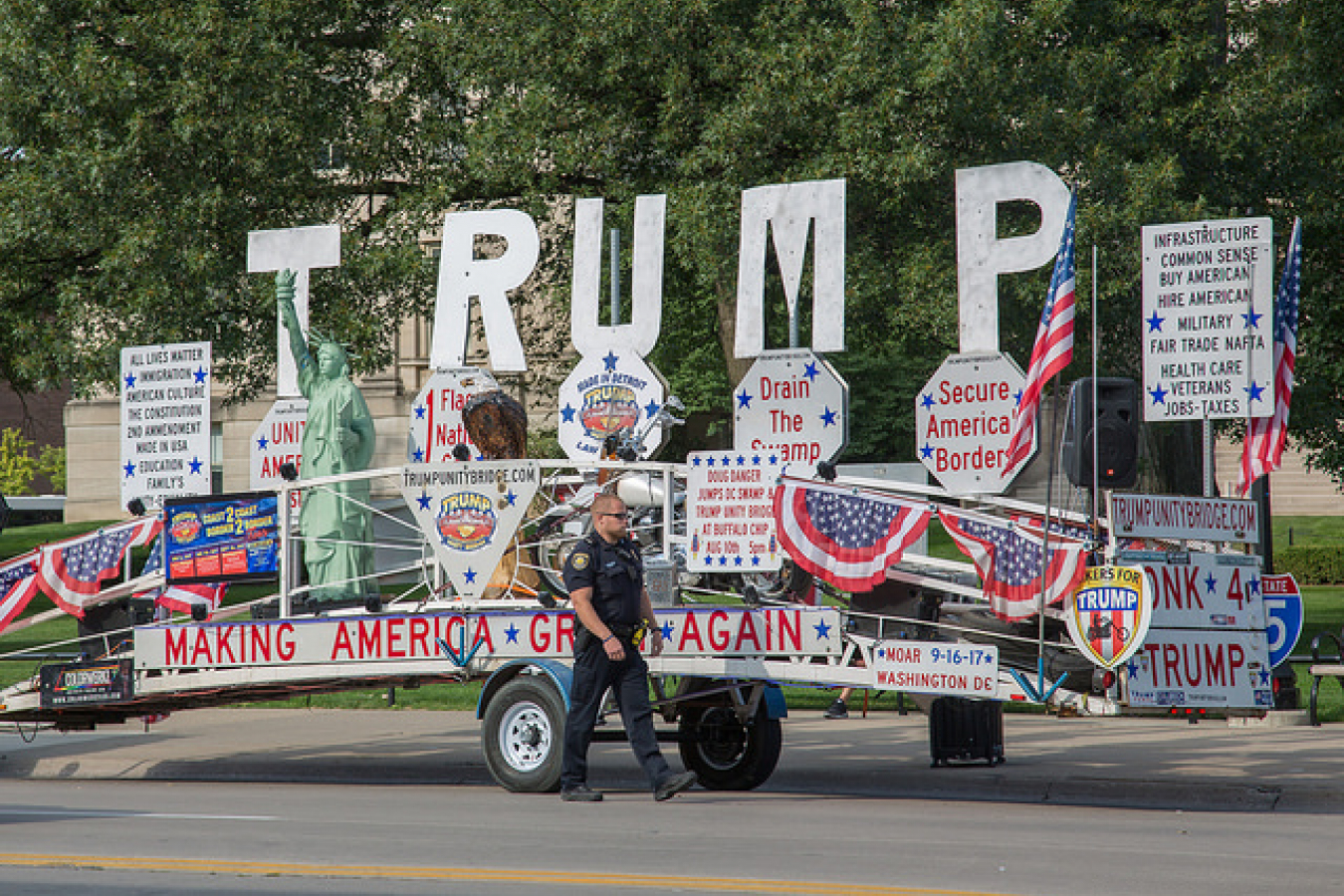 "Trump Unity Bridge ""Honk 4 Trump"" Trailer Float - University of Iowa, Iowa City"