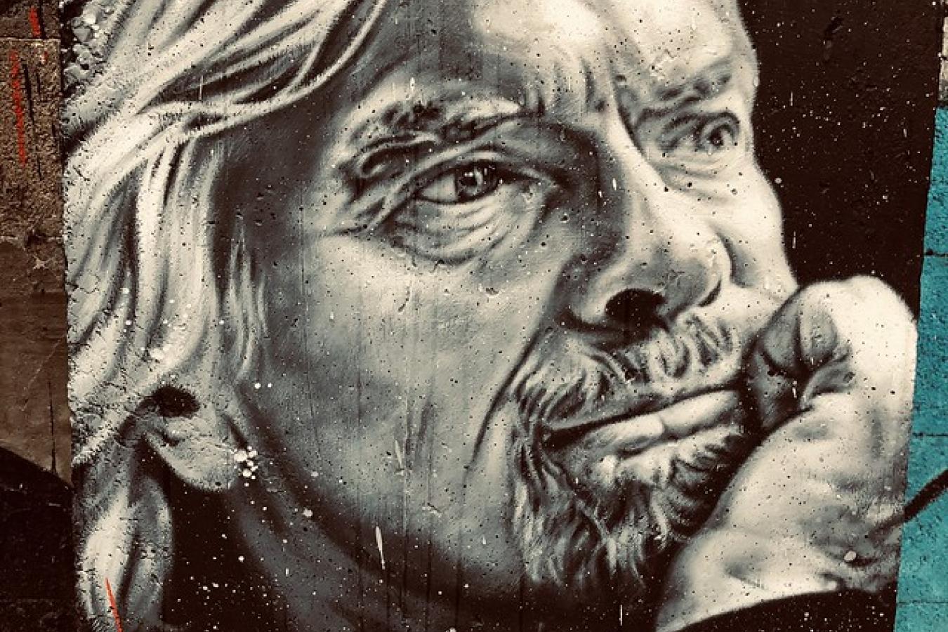 Richard Branson - painted portrait - founder Virgin Media
