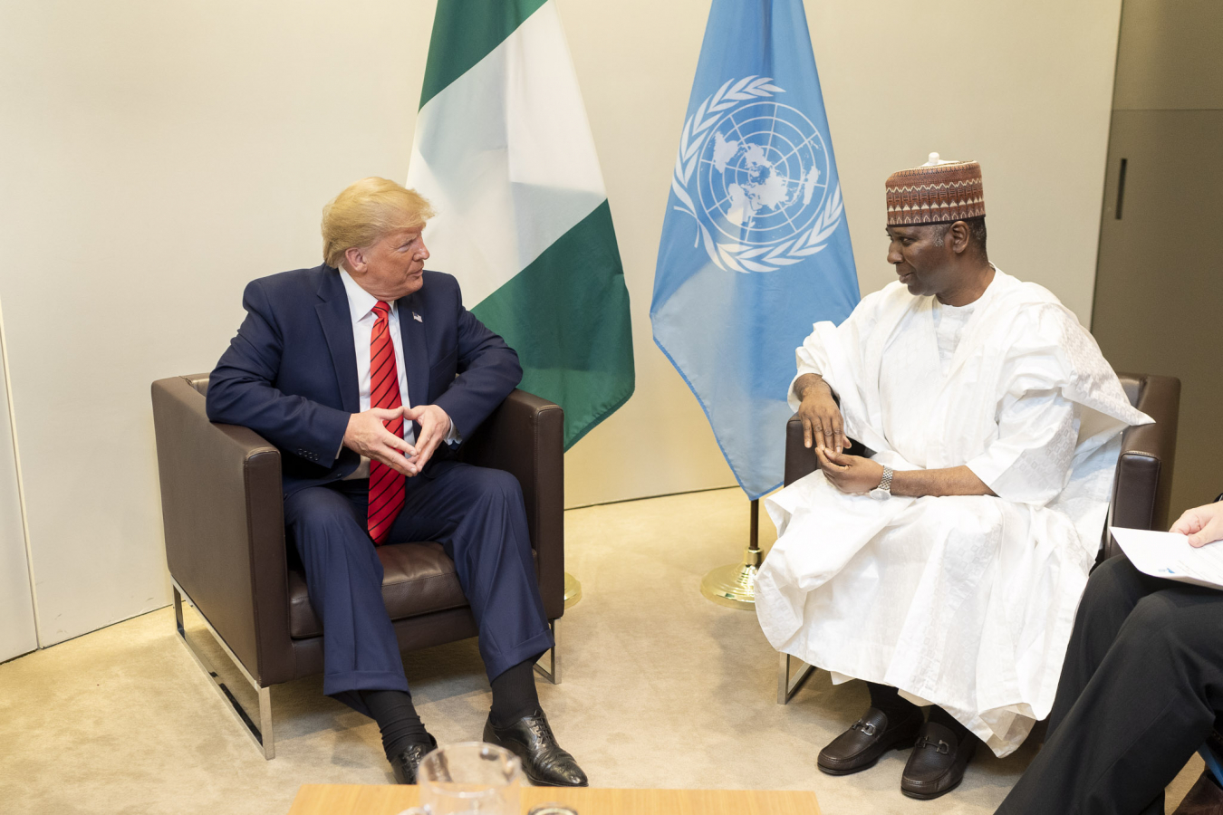 Donald J. Trump with President of the U.N. General Assembly Tijjani Muhammad-Bande of Nigeria 24 September 2019