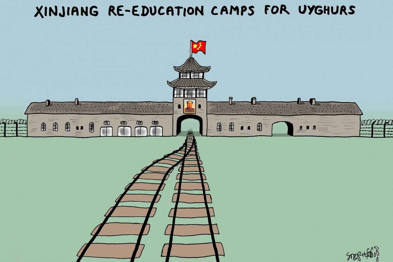 Xinjiang re-education camps: Cartoon by Stephff