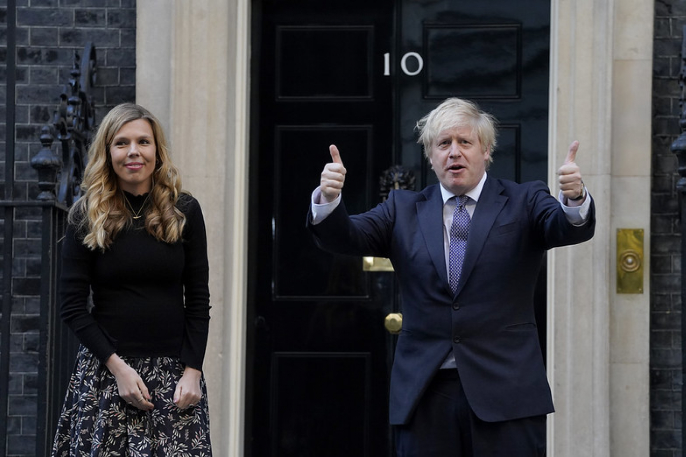 Boris Johnson with partner Carrie Symonds 'Clap for our Carers' 14 May 2020