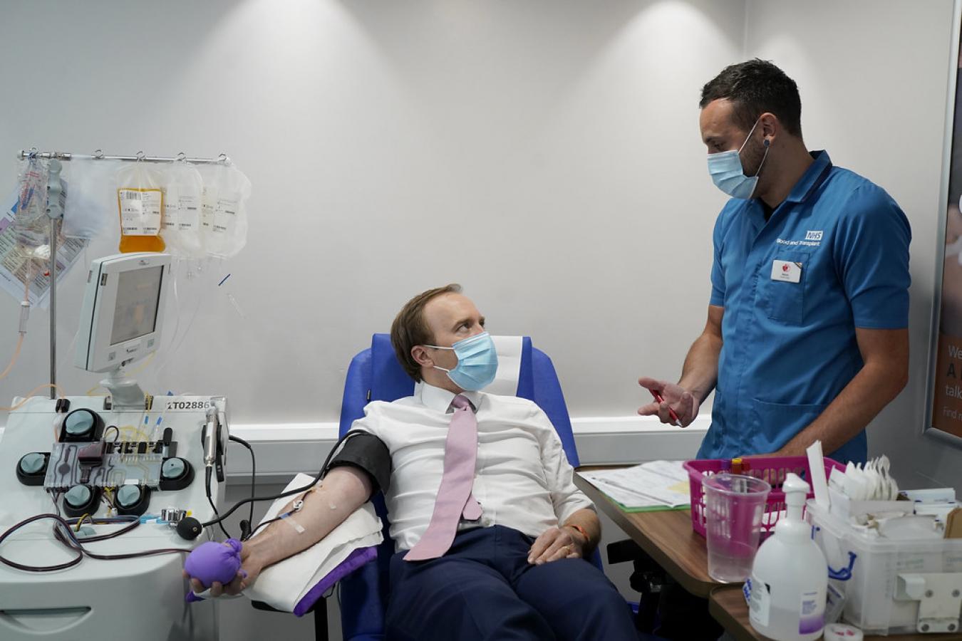 Matt Hancock UK Health Secretary donates Covid-19 Antibodies 5 June 2020