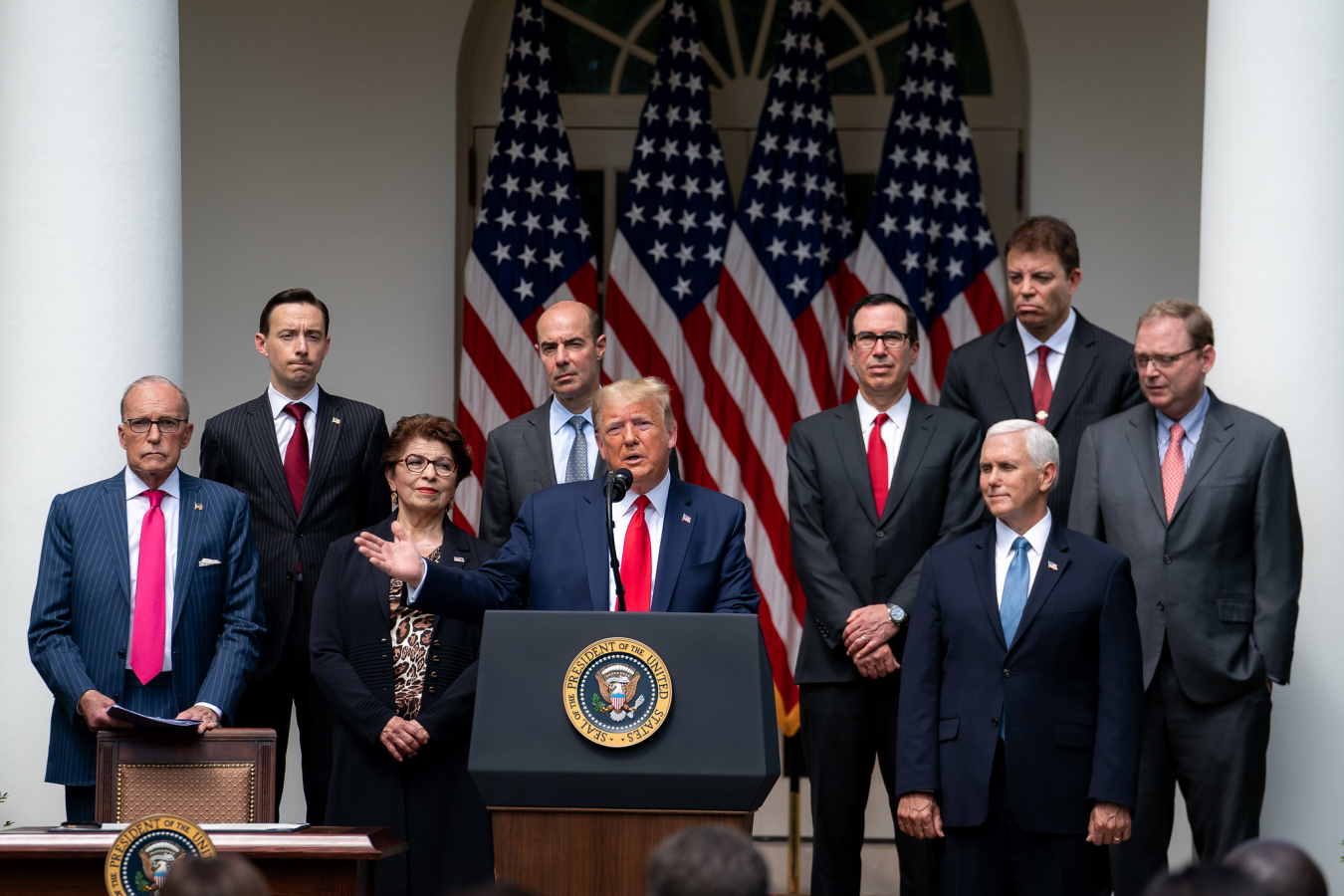 President Donald J. Trump delivers remarks on the US Labor Department's positive job gains report Friday 5 June 2020.