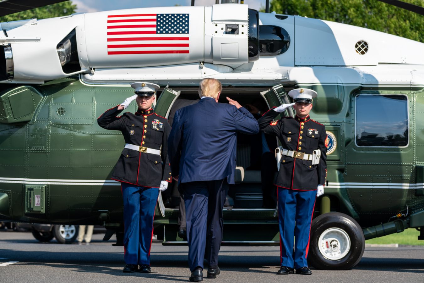 President Donald J. Trump boards Marine One in new Jersey 9 August 2020