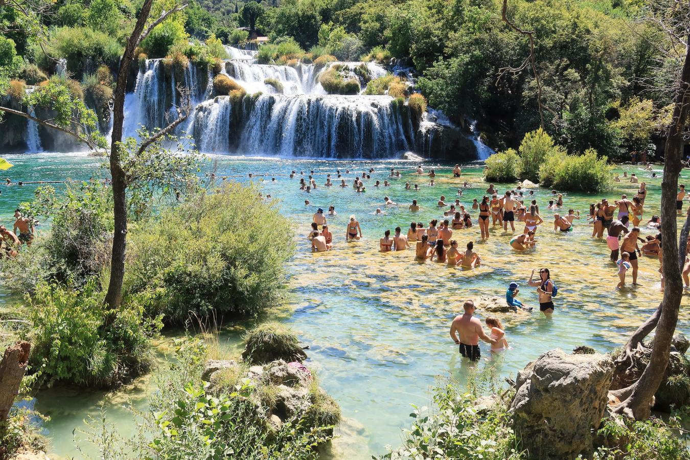 Skradinski Falls, Croatia on a summer day 20 August 2020