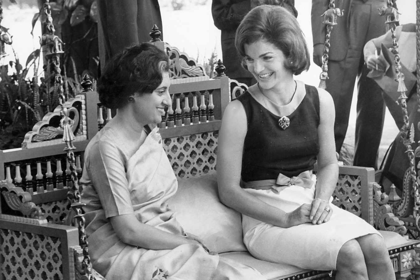 Indira Gandhi was an Oxford student and first and only female Indian Prime Minister with Jacqueline Kennedy in India March 1962