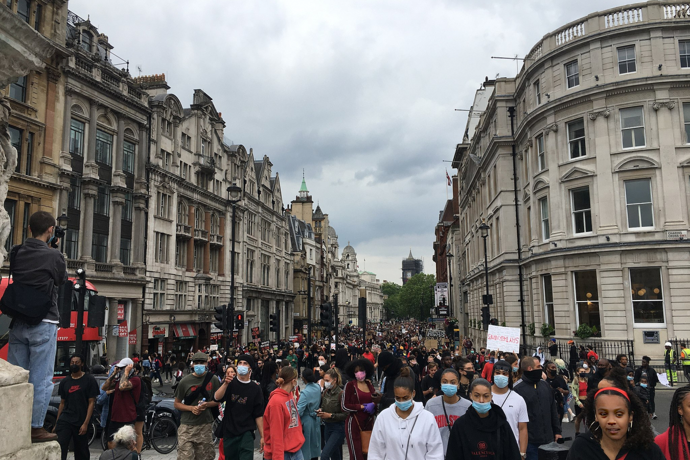 Black Lives Matter peaceful protest on 3 June 2020 end of March from Hyde Park to Trafalgar Square.