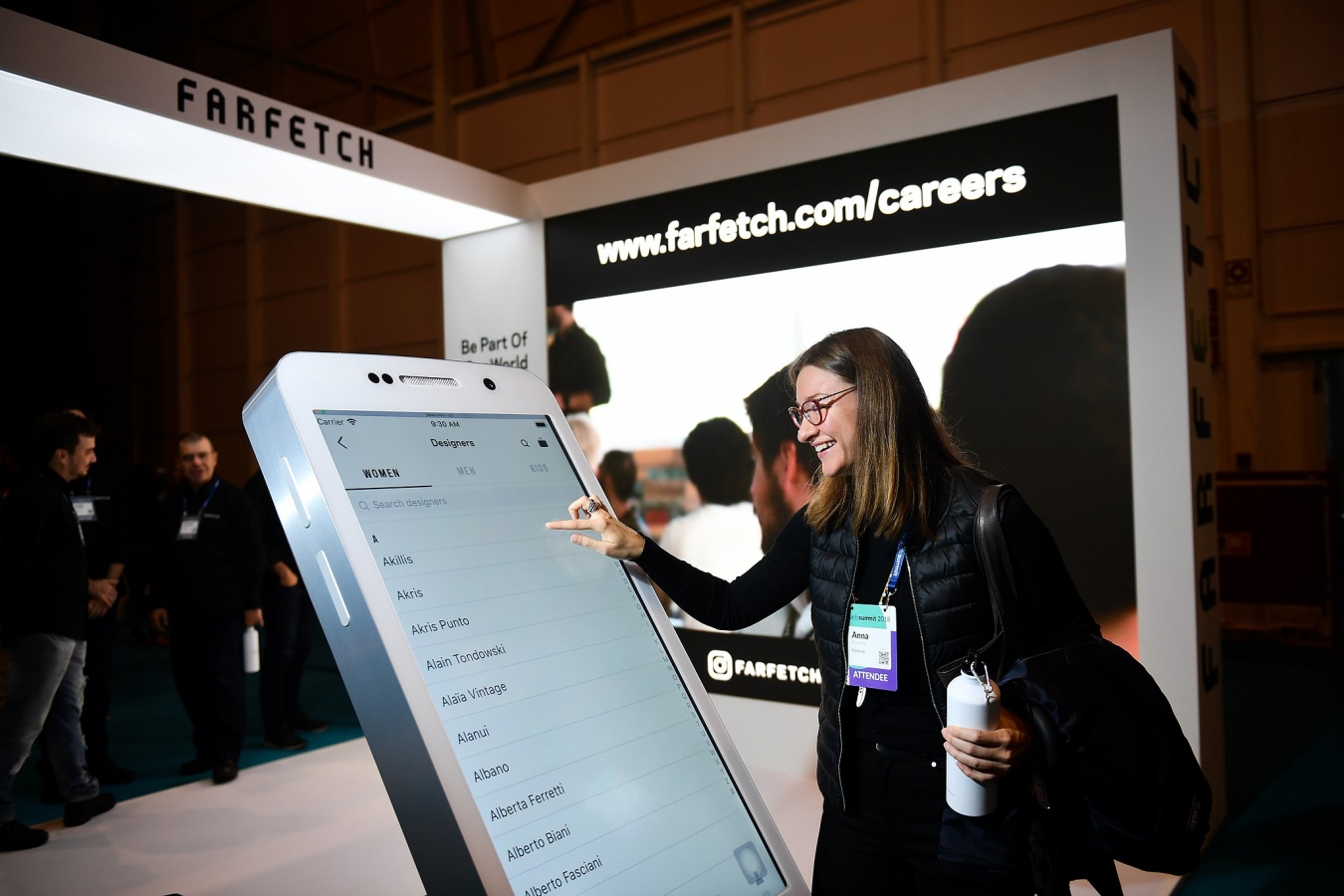 6 November 2018; Farfetch booth during the opening day of Web Summit 2018 at the Altice Arena in Lisbon.