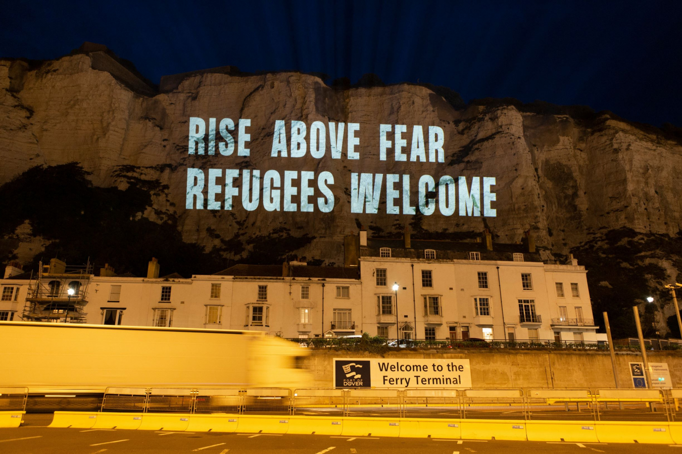 "Freedom from Torture ""Rise above fear refugees welcome"", Dover, Kent 5 September 2020"