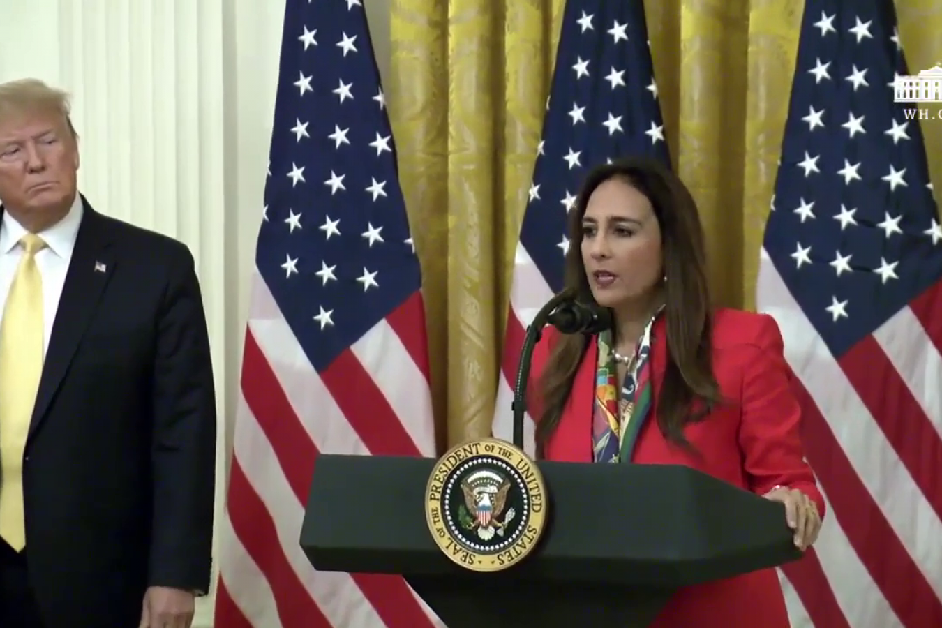 American lawyer and Republican party official Harmeet Dhillon speaks at the White House's Social Media Summit 11 July 2019