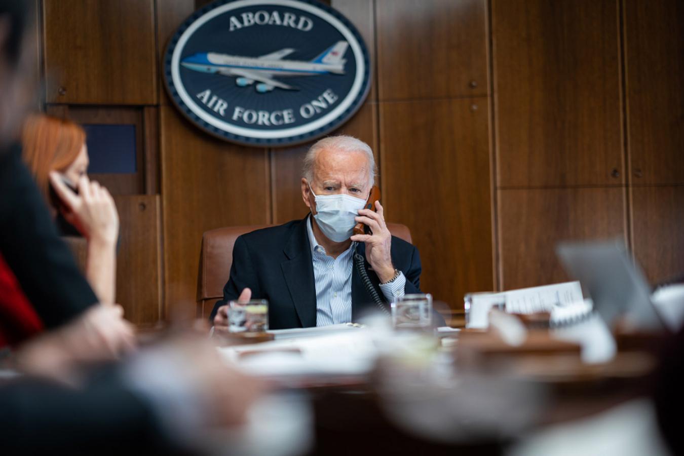 Joe Biden on board Air Force One