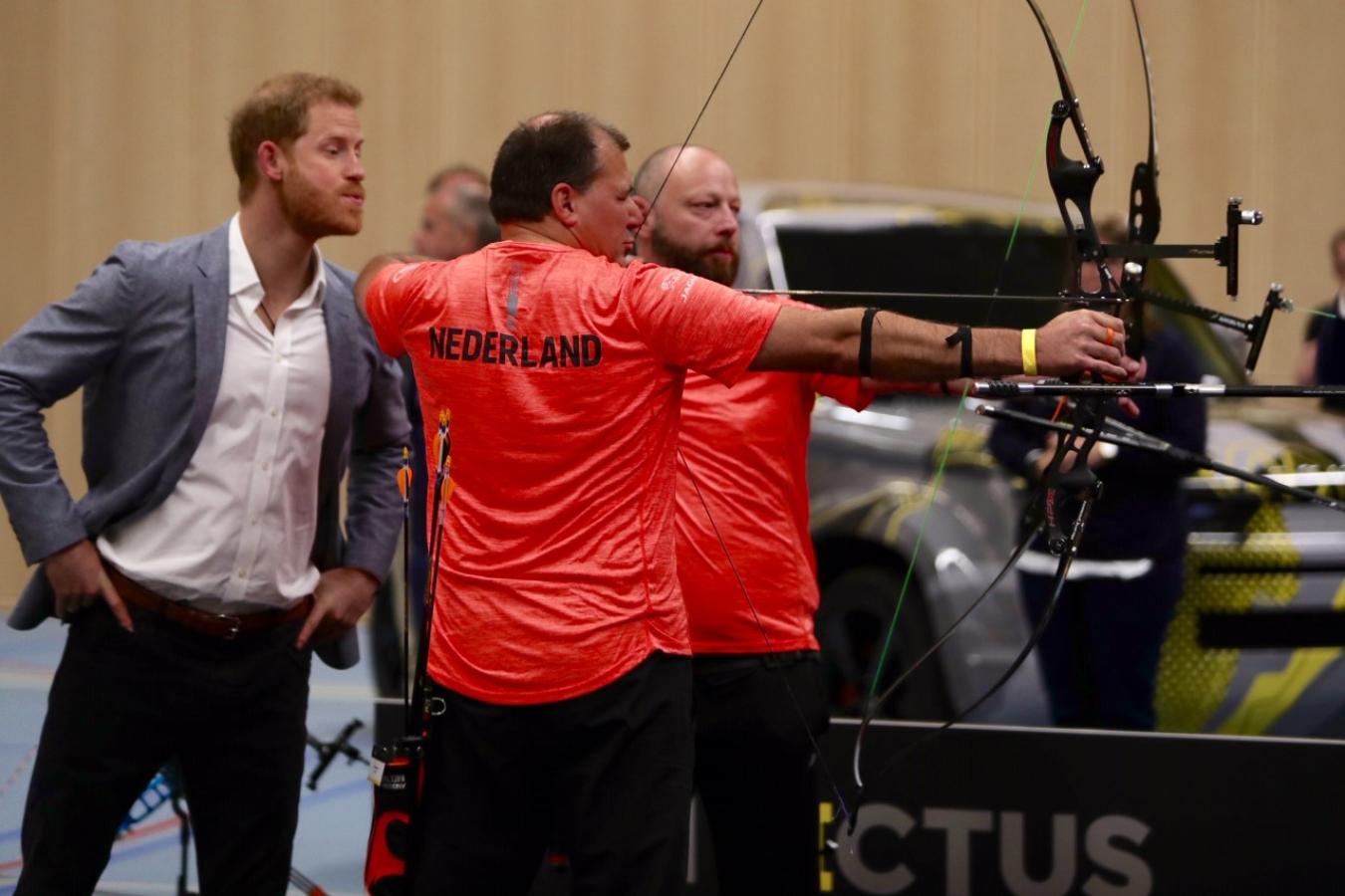 Prince Harry watching longbowmen at 2020 Invictus Games