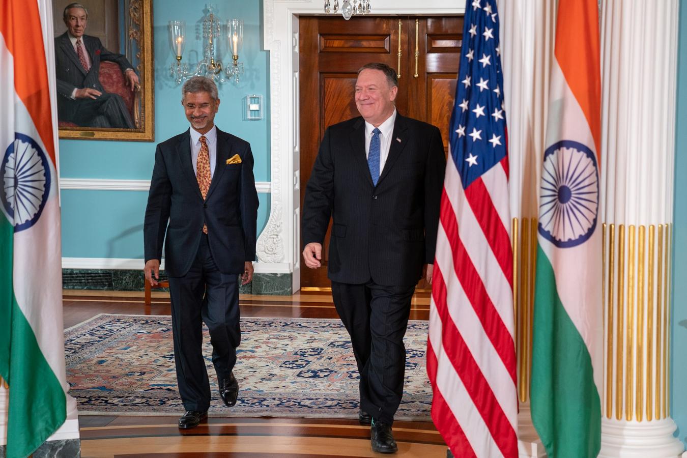 US Secretary of State Michael R. Pompeo and Indian Minister of External Affairs Subrahmanyam Jaishankar 30 September 2019